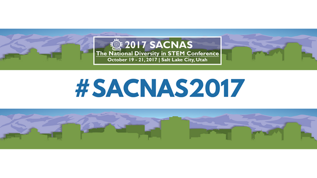 A banner for the SAC-NAS 2017 conference. There is a silhouette of the skyline of Salt Lake City, Utah, in green against mountains of purple.