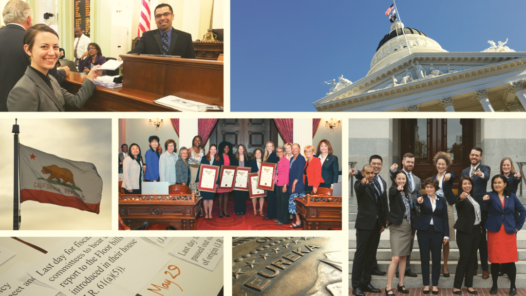 A collage of photos promoting the CCST Science & Technology Policy Fellows. There are photos of the California State Capitol, State Flag, and CCST Science Fellows.