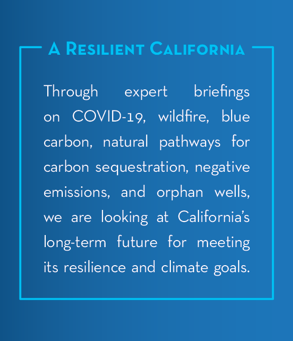 A Resilient California text box with description of our expert briefings this year