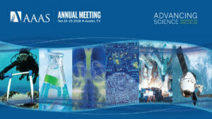 A graphic promoting the 2018 A A A S Annual Meeting in Austin, Texas.
