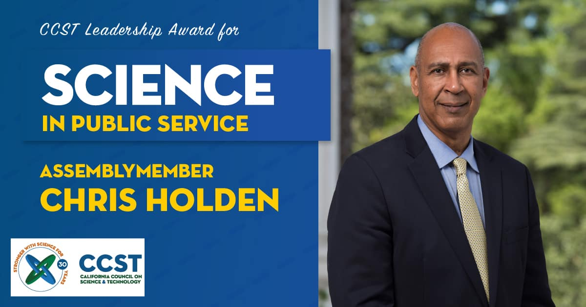 Picture of Assemblymember Holden with Science in Public Service Award text