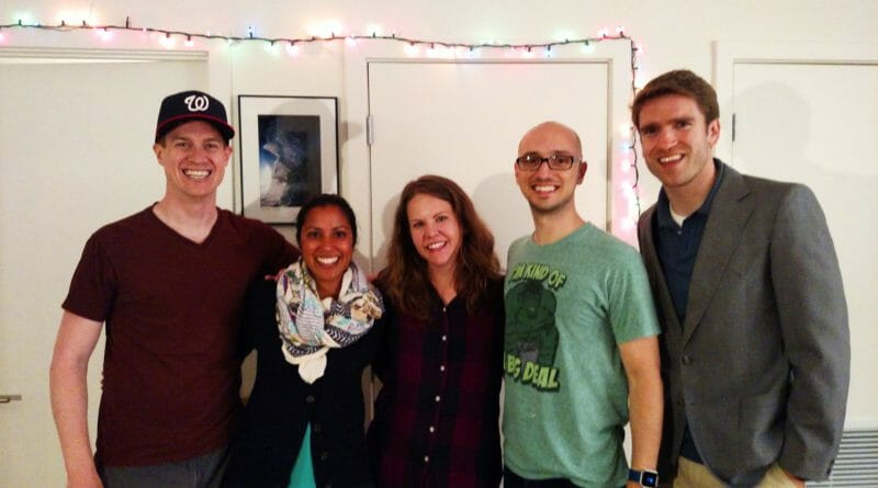 CCST Science Fellows alumni in Washington DC offer a warm welcome to Beltway newcomer Laurie Harris ('15). Left to right: Mark Elsesser ('13), Neela Babu ('13), Harris, Kyle Hiner ('13), and Stephen Francis ('12). (Photo courtesy of Neela Babu)