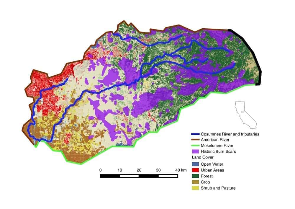 Berkeley Lab researchers built a numerical model of the Cosumnes River watershed, to study post wildfire effects on water availability (Credit: Berkeley Lab)