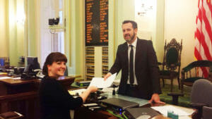 CCST Science Fellow Sarah Brady working at the California State Assembly.