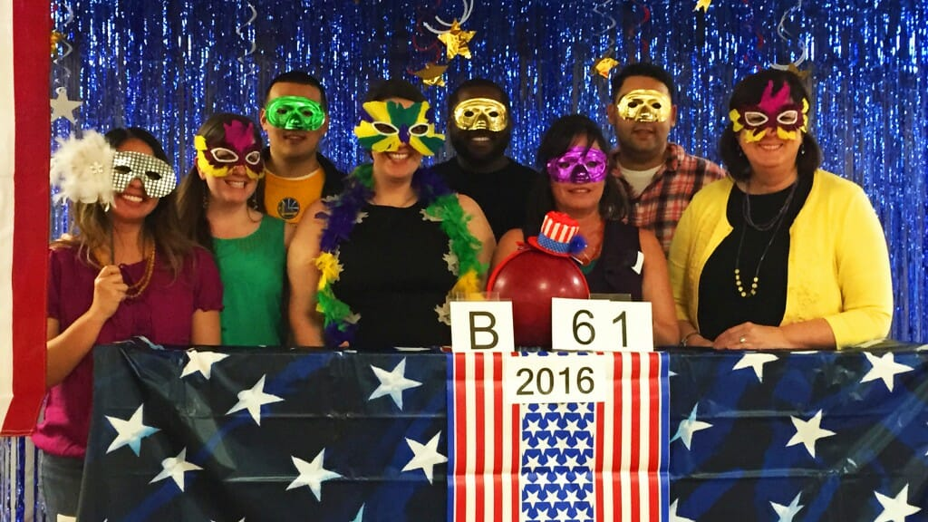 """Sarah Brady (second from left) and the rest of """"Team Bonilla"""" at the 2016 Legislative Bowling Night, a highly competitive and popular annual tradition within the Capitol staff community. (Photo courtesy of Sarah Brady)"""