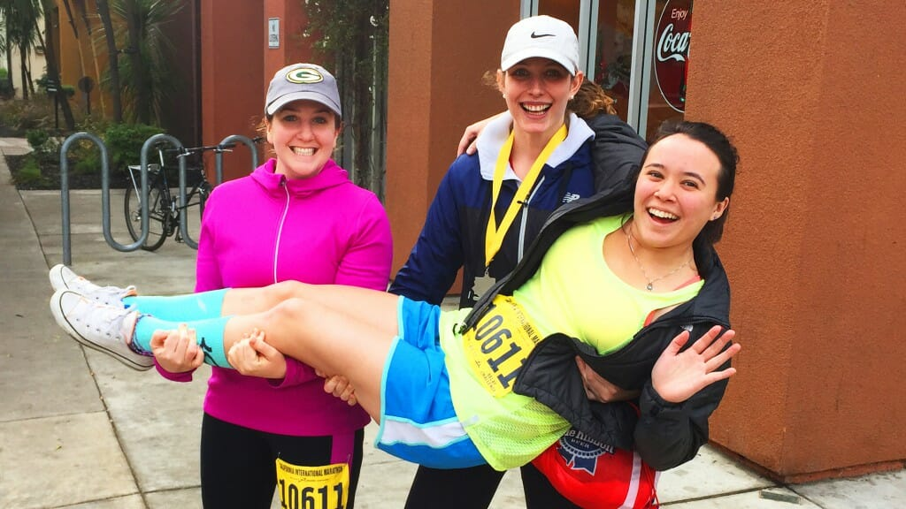 Working hard in the Capitol also means playing hard for Sarah Brady, seen here with friends at the California International Marathon, which has its finish line at the State Capitol. (Photo courtesy of Sarah Brady)