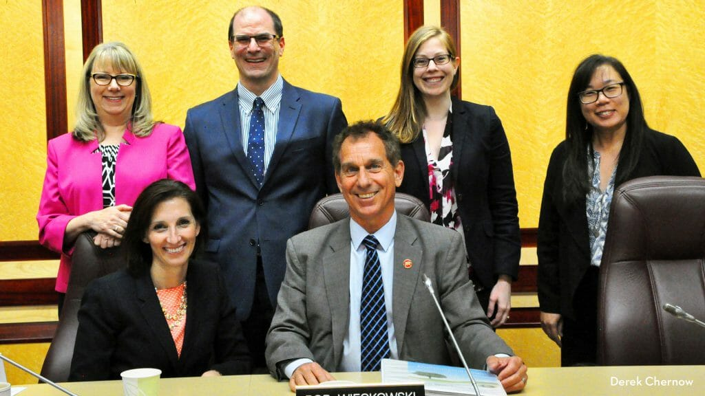 Senator Bob Wieckowski, Chair of the California State Senate Environmental Quality Committee (front center), with committee staff and 2016 CCST Science Fellow Dan Brumbaugh (back row). (Image courtesy of Derek Chernow)
