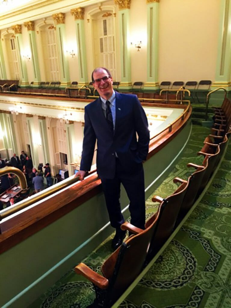 2016 CCST Science Fellow Dan Brumbaugh in the Assembly gallery, attending the 2016 State of the State speech by Governor Jerry Brown. (Image courtesy of Sarah Carvill '16)