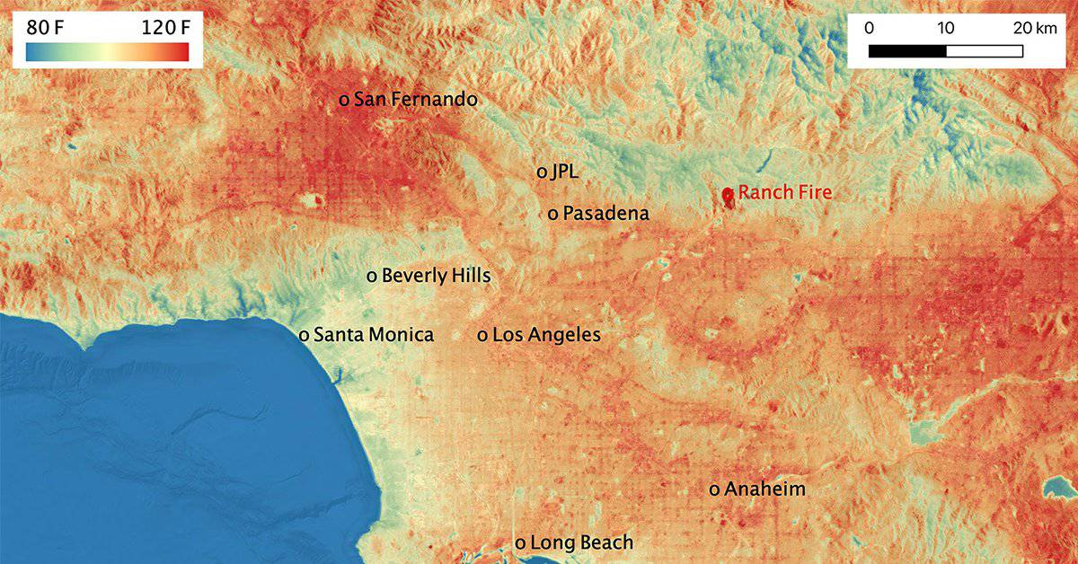 Heat map from 80F to 120F of Southern California