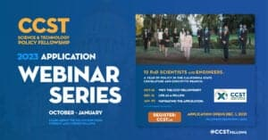 Digital flyer with blue background overlaid on California Capitol and bold orange and white lettering with title and listing of upcoming webinars, photo of 2021 Fellows in masks standing on the Capitol grounds.