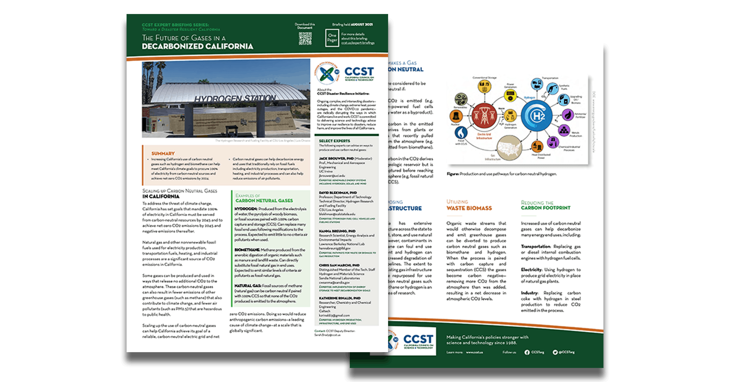 Front and back of the Future of Gases one pager
