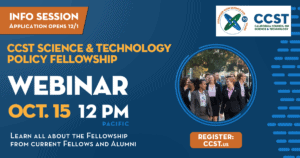 Graphic with details on the upcoming CCST Science Fellows webinar on 10/15