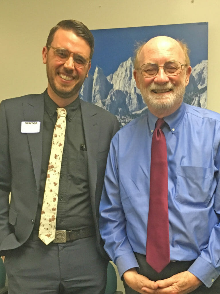 2018 CCST Science & Technology Policy Fellow Dylan Chapple PhD standing with California Natural Resources Secretary and fellow UC Santa Cruz alum John Laird. (Photo courtesy of Dylan Chapple)