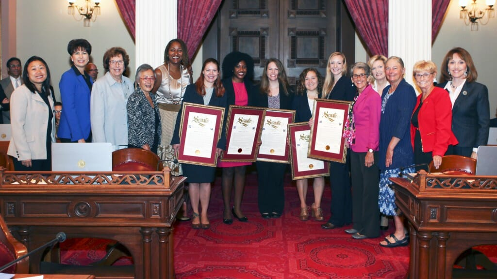 The Senate members of the 2015 CCST Science & Technology Policy Fellowship Class were joined by the Senate Women's Caucus in a recognition ceremony in August 2015. Edited from original photo courtesy of California State Senate.