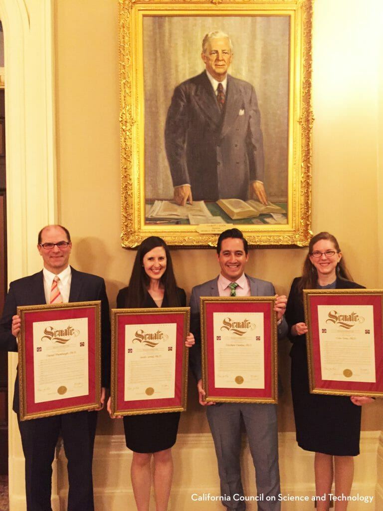 2016 CCST Science & Technology Policy Fellows after their recognition ceremony on the California State Senate floor on August 1, 2016. L-R: Dan Brumbaugh PhD; Sarah Carvill PhD; Matthew Dumlao PhD; Erin Arms PhD.