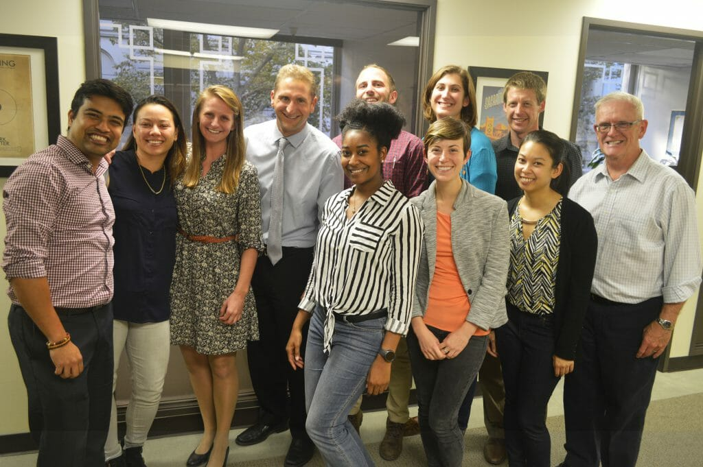 Photo of the 2017 Class of CCST Science & Technology Policy Fellows in November 2016, celebrating the end of their initial training week with instructor Thad Kousser of UC San Diego.
