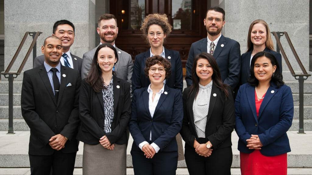 The 2018 Class of CCST Science & Technology Policy Fellows standing on the California State Capitol North Steps.