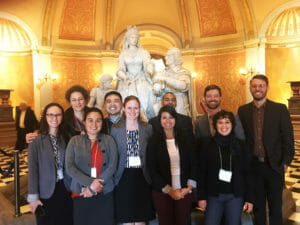 "The 2018 CCST Science & Technology Policy Fellows tour the California State Capitol rotunda during their ""policy boot camp"" training month in November 2017."