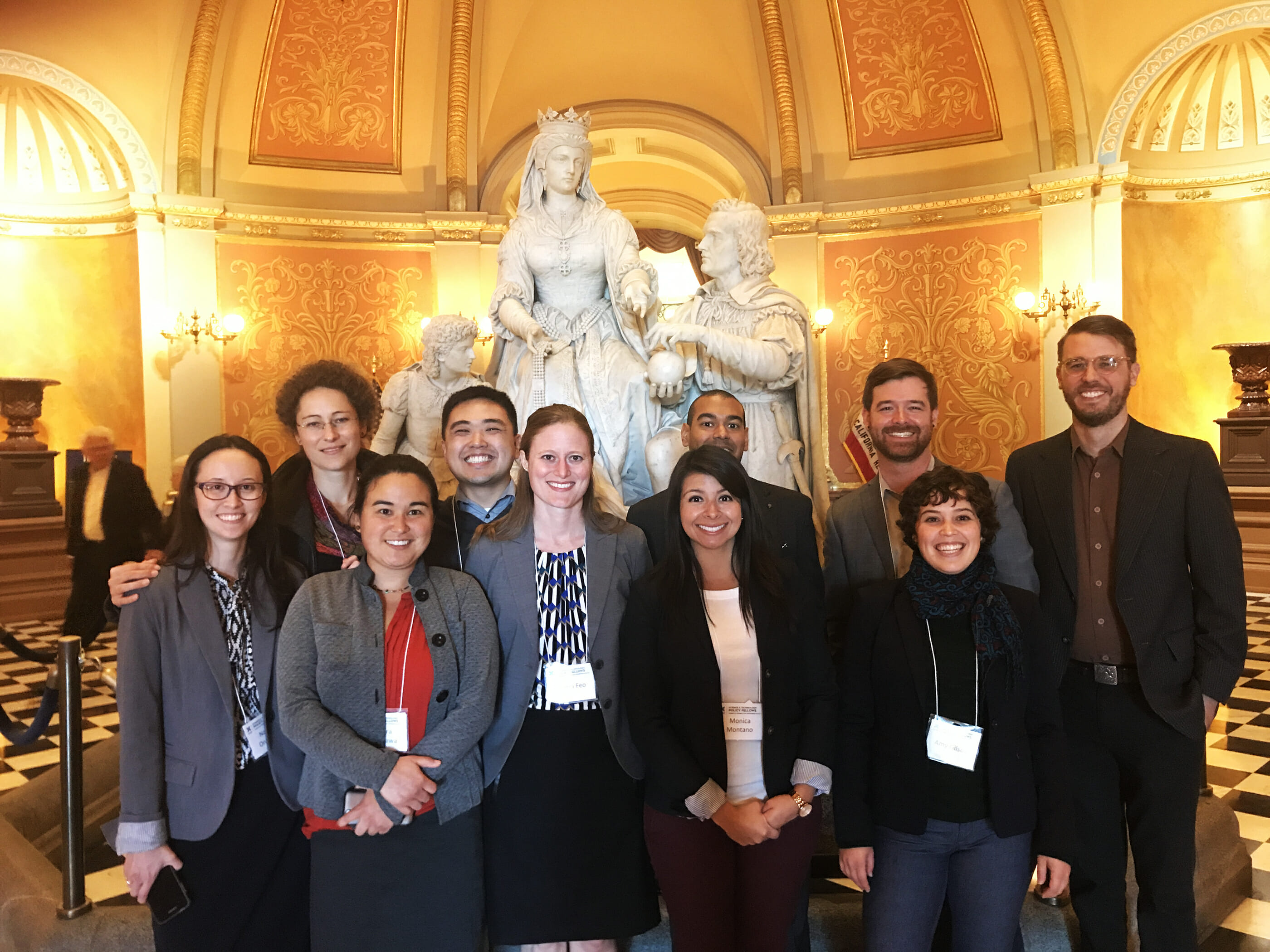 The 2018 CCST Science & Technology Policy Fellows tour the California State Capitol rotunda during their