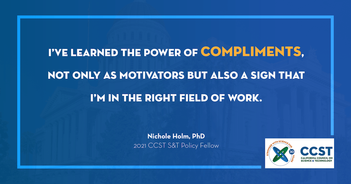 Quoted text image: I've learned the power of compliments, not only as motivators but also a sign that I'm in the right field of work.