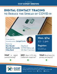 Digital Contact Tracing event flyer