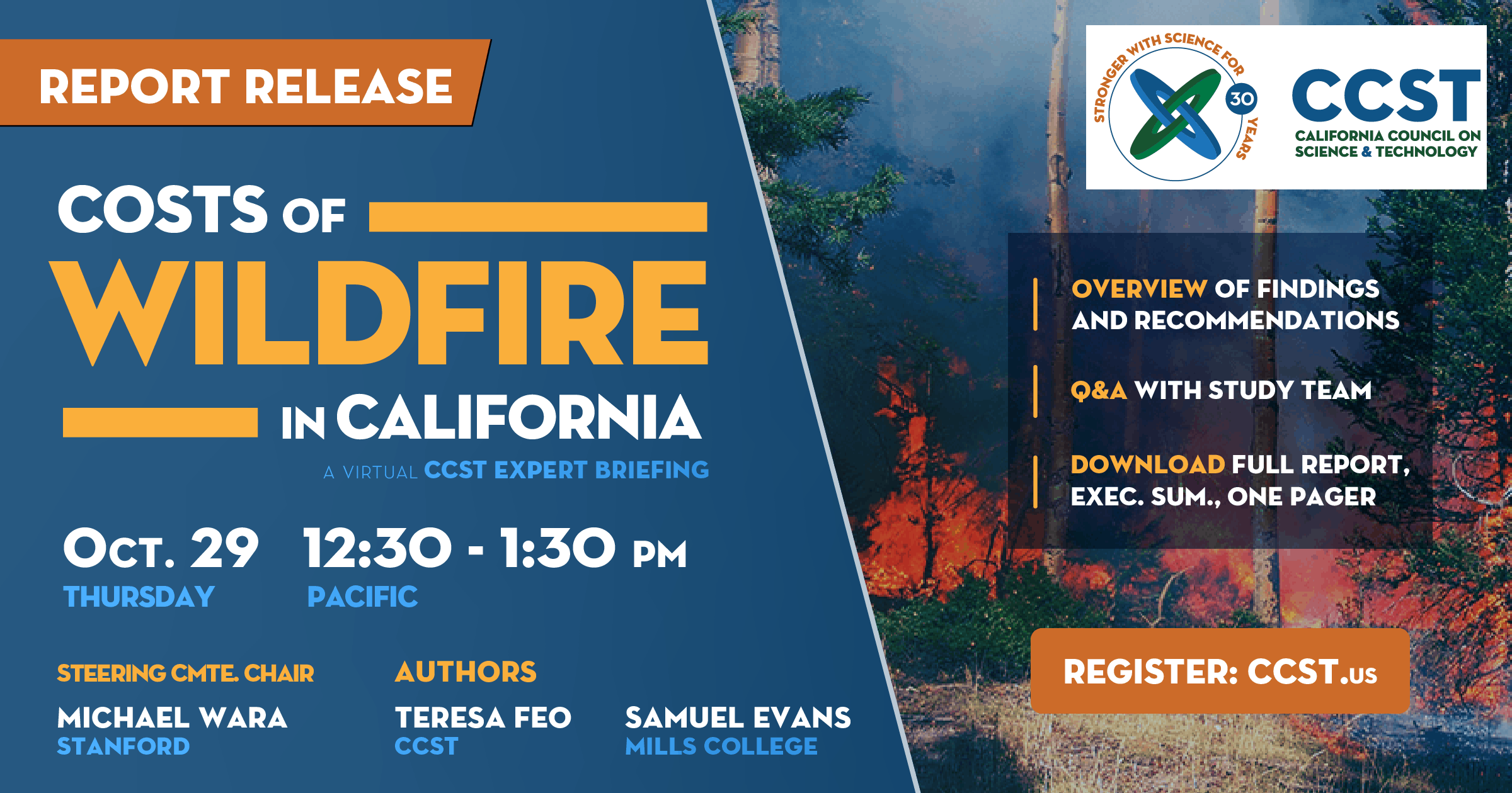 Costs of Wildfire in California, Report Release, Oct 29, 12:30pm