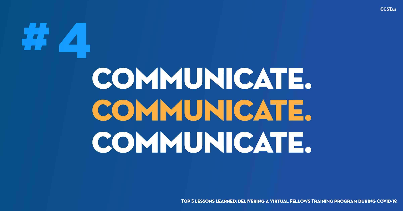 #4 COMMUNICATE. COMMUNICATE. COMMUNICATE. on blue background.