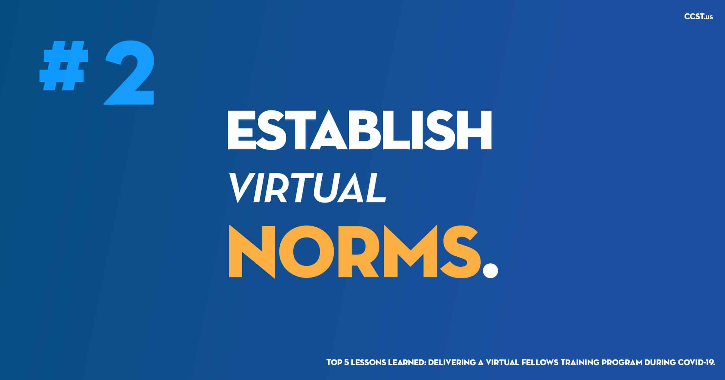 #2 ESTABLISH VIRTUAL NORMS on blue background.