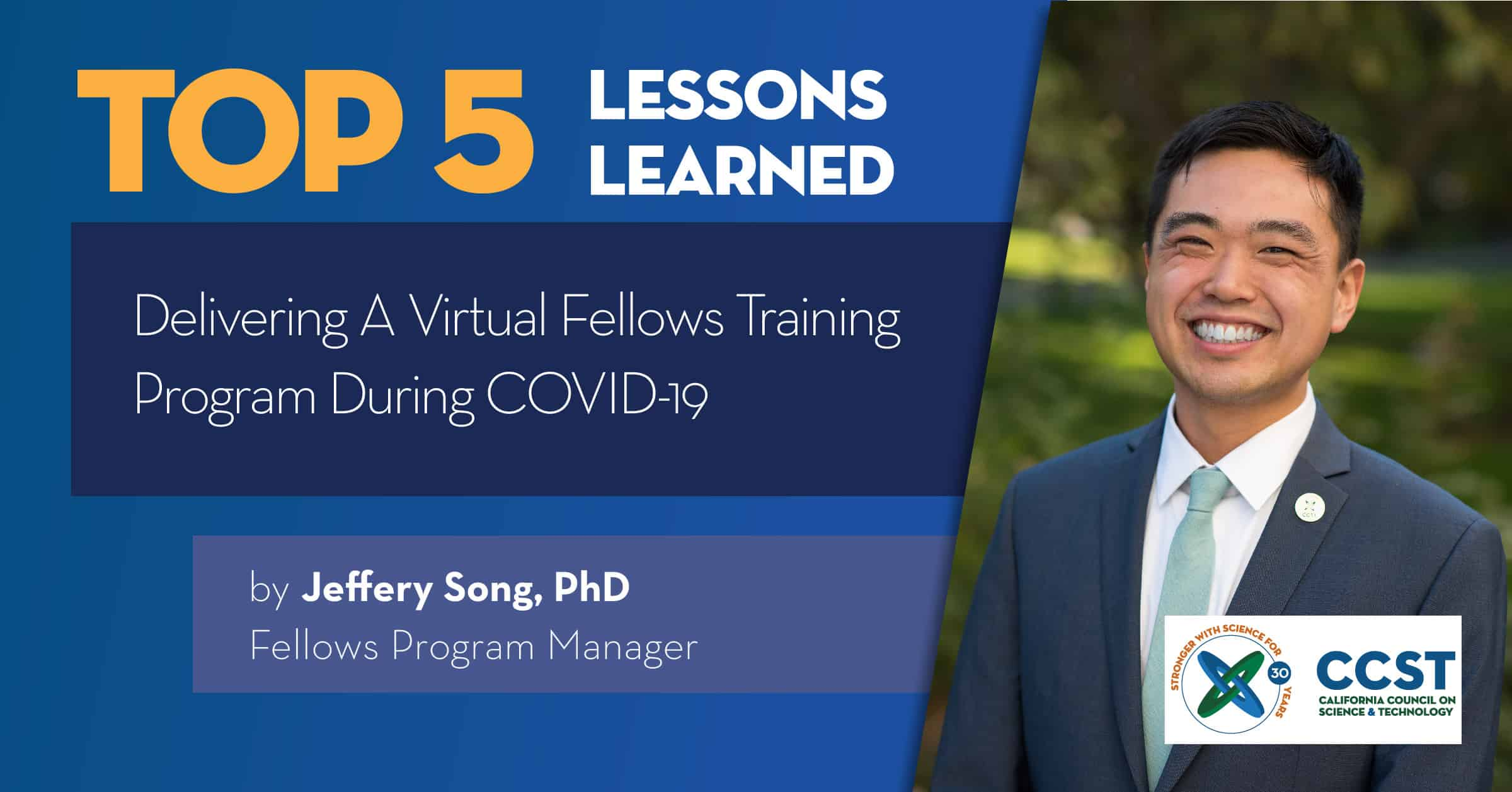 Title Card Top 5 Lessons Learned with photo of Jeffery Song
