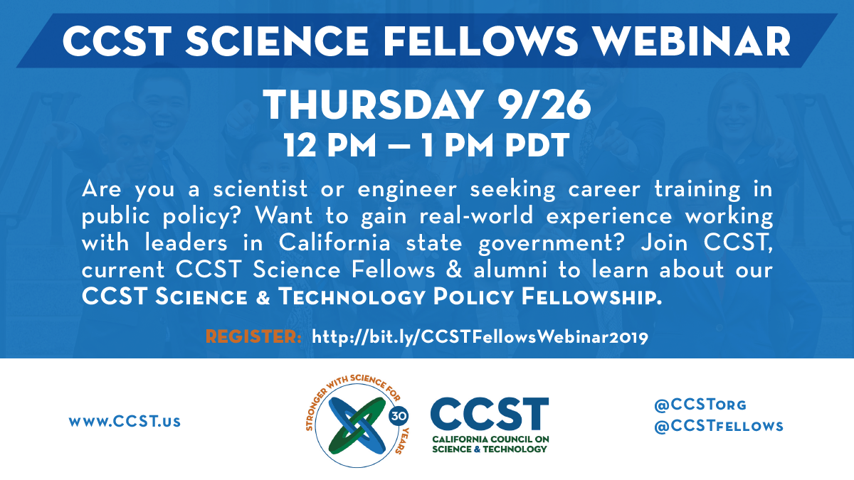 CCST Science Fellows Webinar Fall 2019