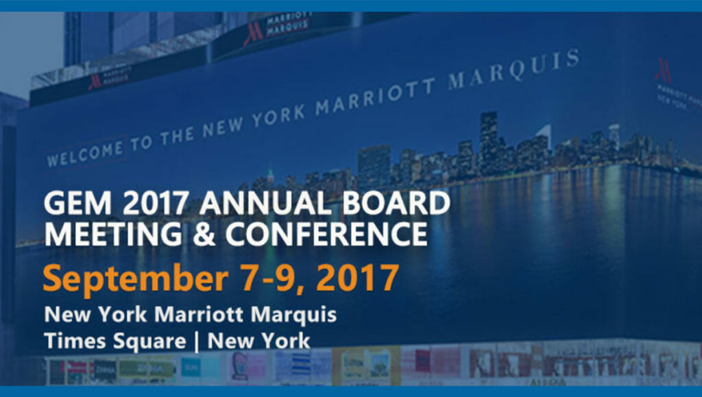 A screenshot of the GEM Consortium website with a graphic promoting the 2017 Annual Conference. The background photo depicts the New York Marriott Marquis hotel's exterior.