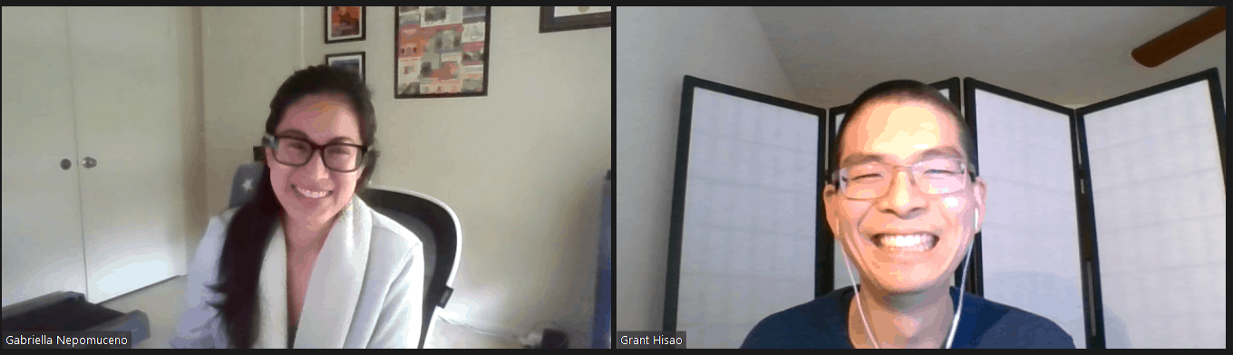 Screenshot of Zoom conversation with Grant and his mentor and CCST alum Gabriella Nepomuceno.
