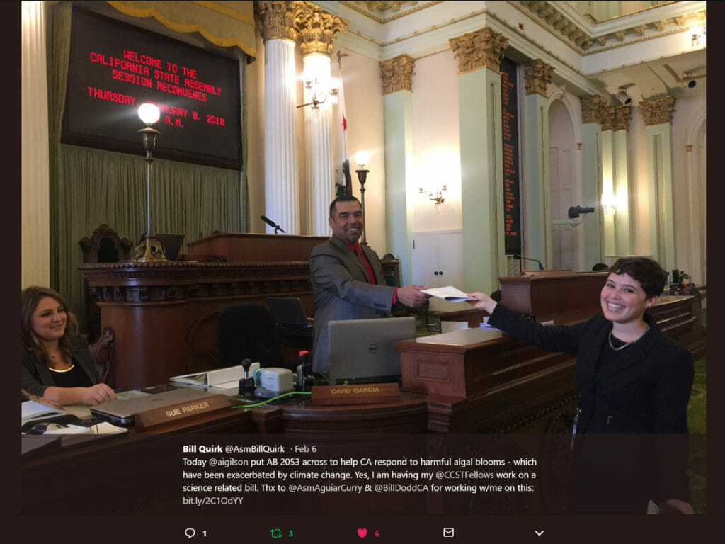 "2018 CCST Science Fellow Amy Gilson ""crossing a bill"" in the California State Assembly during her fellowship year. (Image Credit: @ASMBillQuirk)"