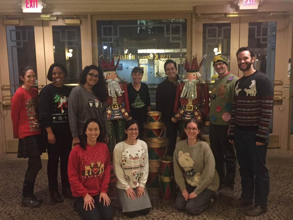 The 2016 CCST Science Fellows catching a breather with a December ugly-sweater celebration, before the State Legislature resumed action!