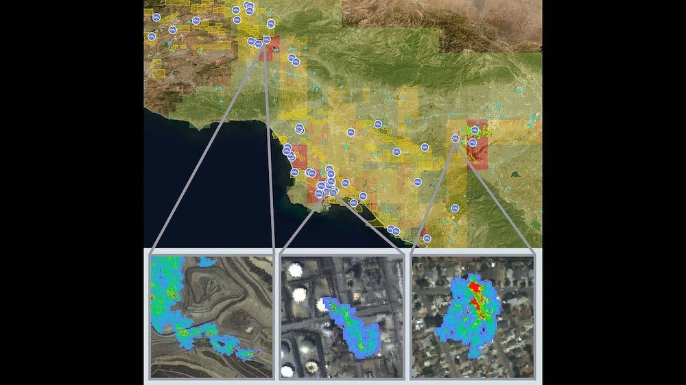 Outputs from NASA JPL's Methane Source Finder tool, derived from airborne and surface monitoring networks. (Credit: NASA/JPL-Caltech)