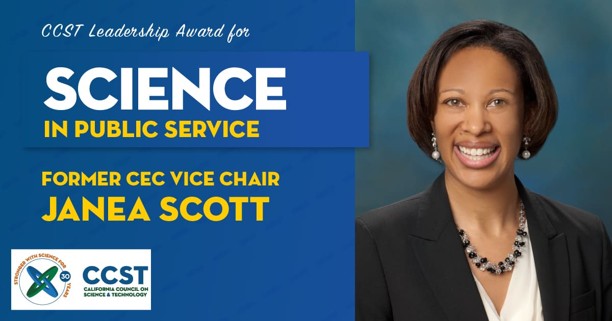Picture of former CEC Vice Chair Janea Scott with Science in Public Service Award text
