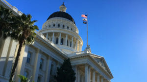 The California State Capitol building in winter.