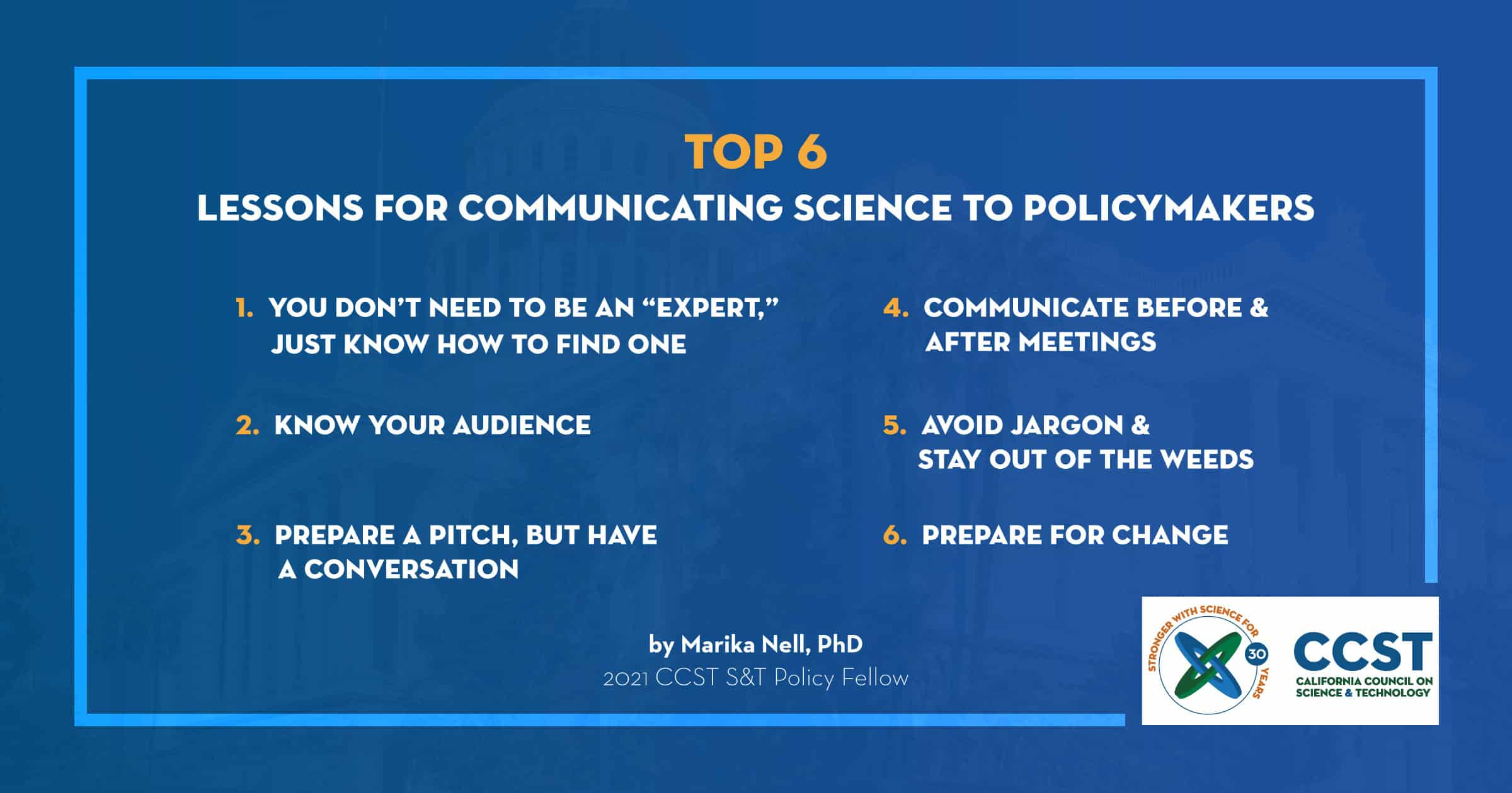 A list of Marika's Top 6 lessons for communicating science to policymakers on a blue background