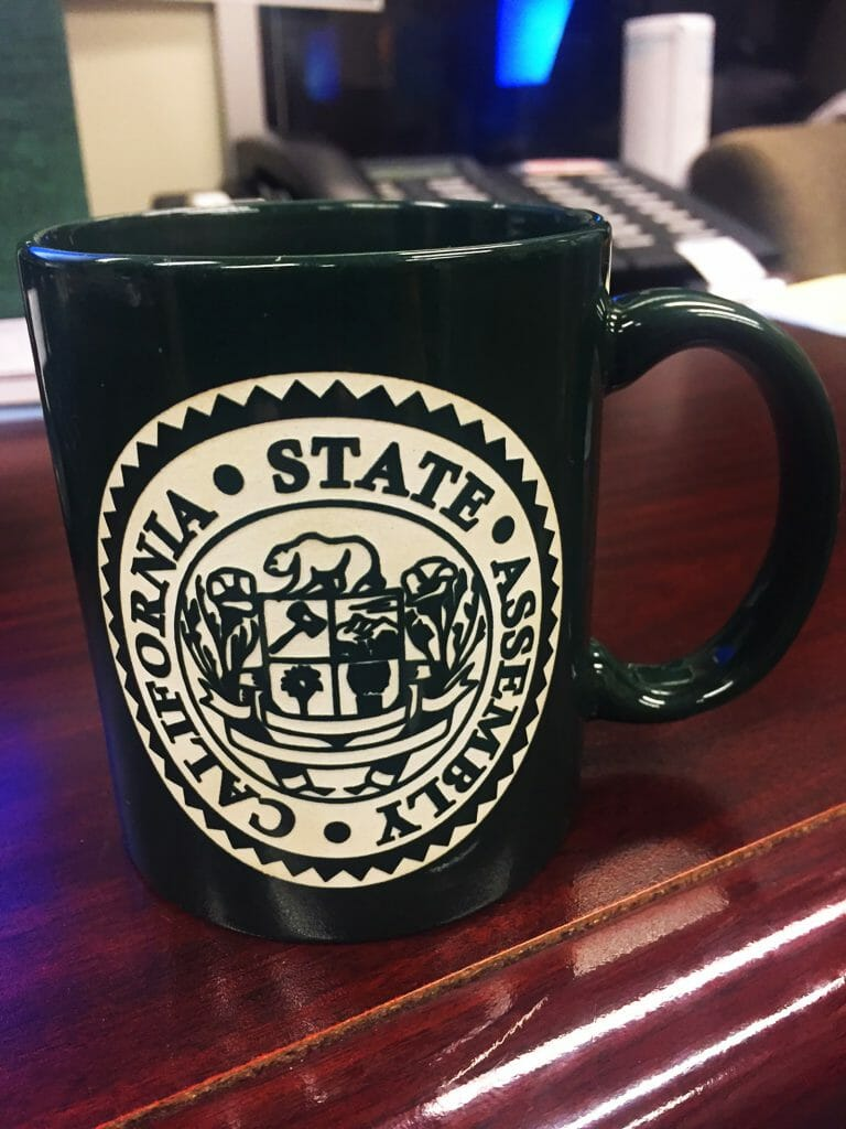 Photo of a California State Assembly coffee mug. Photo courtesy of Laura McWilliams.