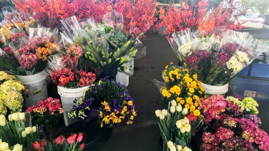 Photo of a florist stand at the Sacramento Sunday Farmers Market. Florists are among the many vendors at the Sacramento Central Farmers Market, held weekly on Sunday mornings under Highway 50. (Photo courtesy of Bao-Ngoc Nguyen)