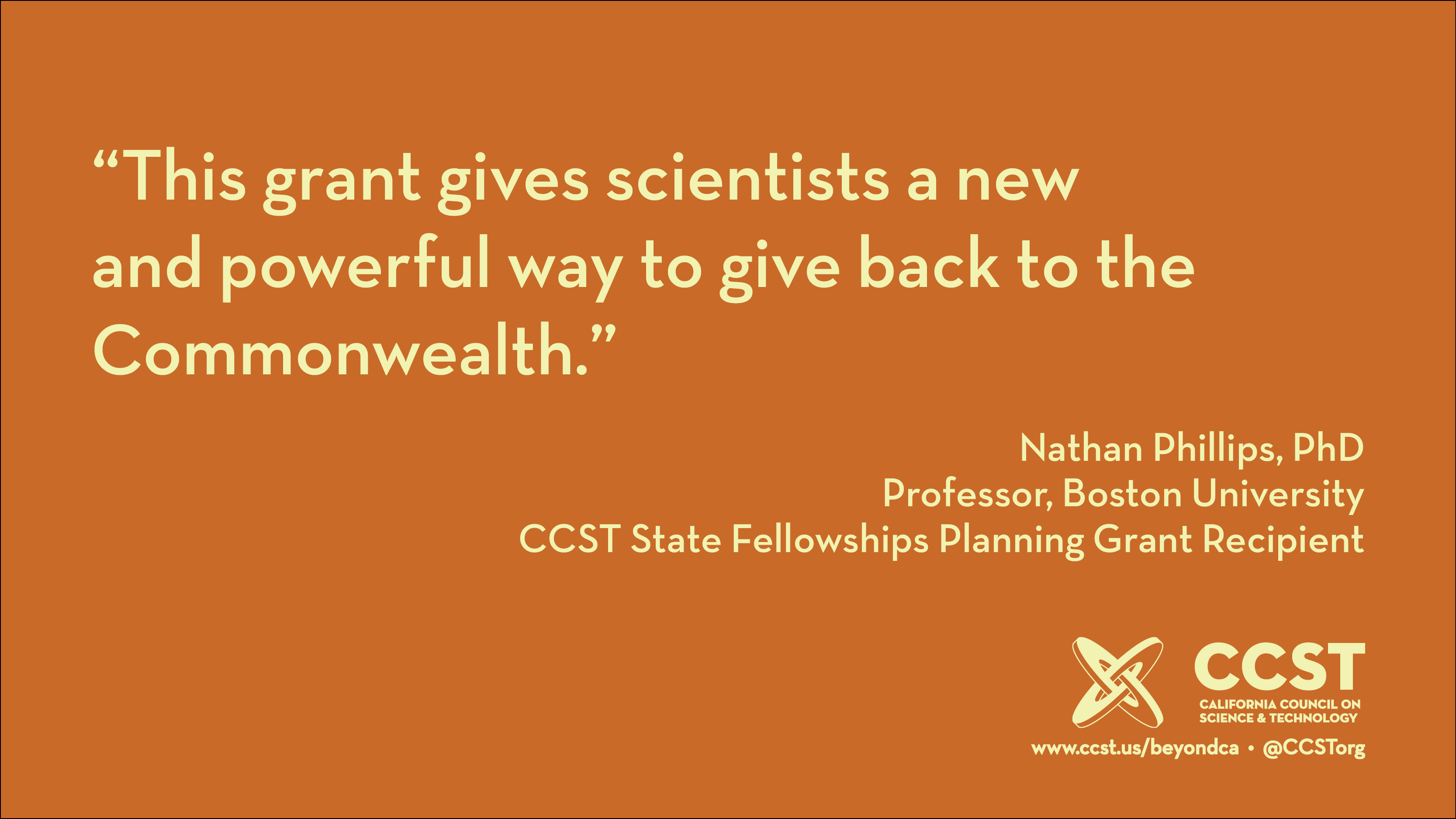 "This image features a quote from Boston University professor Nathan Phillips, who writes: ""This grant gives scientists a new and powerful way to give back to the Commonwealth."""