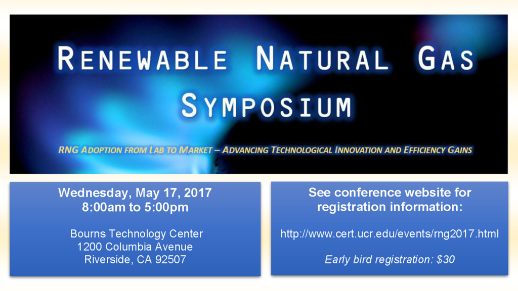 Screenshot of the UC Riverside Center for Environmental Research & Technology poster for the 2017 Renewable Natural Gas Symposium.