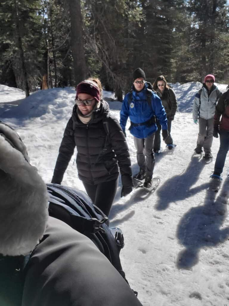 The group snow shoeing into the Sierra.