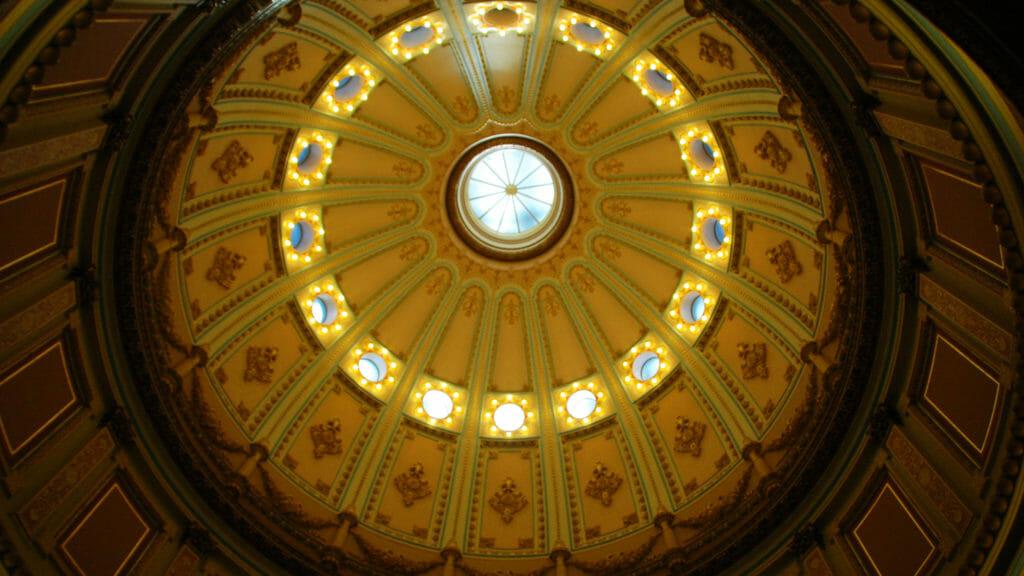 Ceiling of the Capitol Building rotunda, in Sacramento, California.