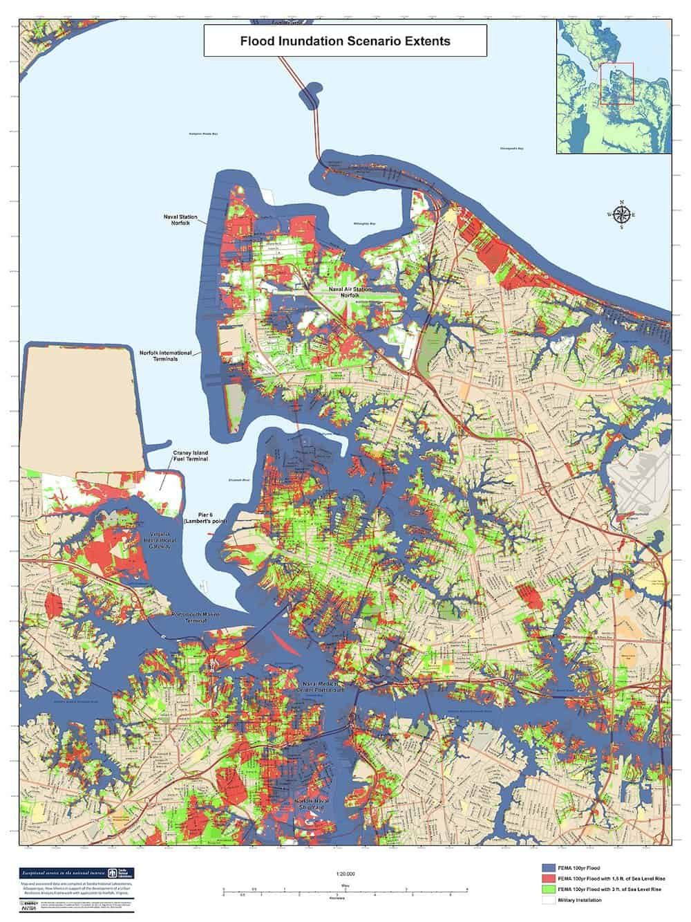 As part of its work in developing local urban resilience in Norfolk, VA, Sandia/California developed maps showing varying levels of potential flooding. (Credit: Sandia National Laboratories)
