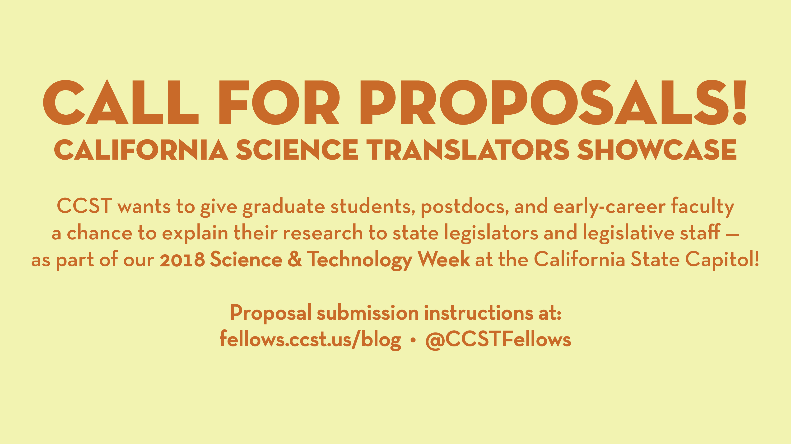 A graphic banner announcing the California Science Translators Showcase. The text is orange, and the background is a pale yellow.