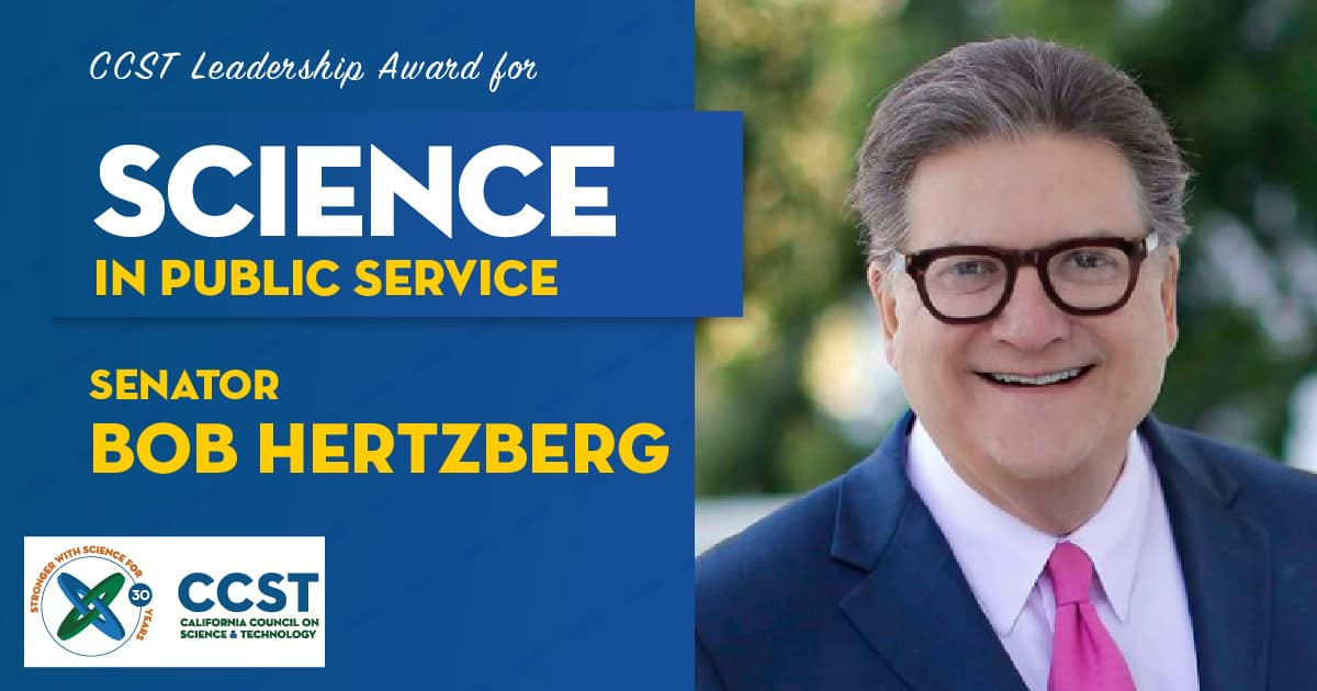 Picture of Senator Hertzberg with Science in Public Service Award text