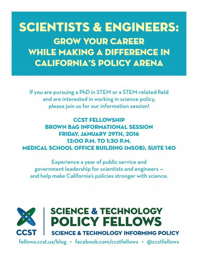 Flyer for a CCST Fellowship Info Session at Stanford University on January 29, 2016.