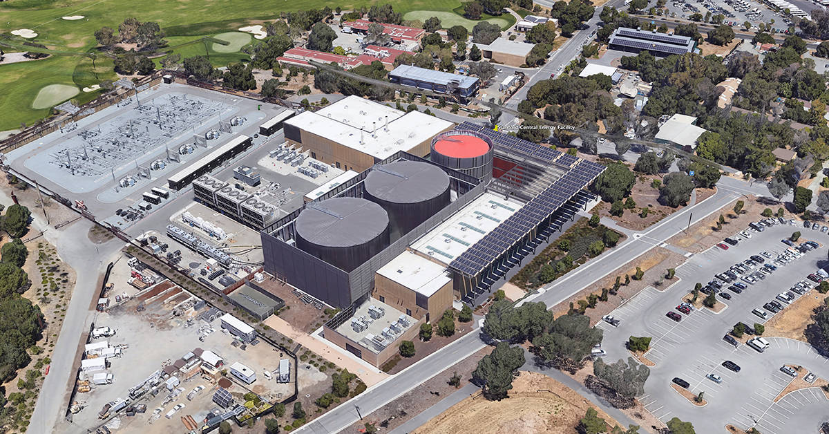 Aerial view of Stanford's Central Energy Facility via Google Earth