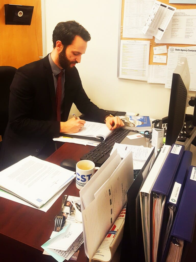 After years of research in material science engineering, John Thompson is trying his hand at policy alchemy as a CCST Science Fellow in the California State Assembly.